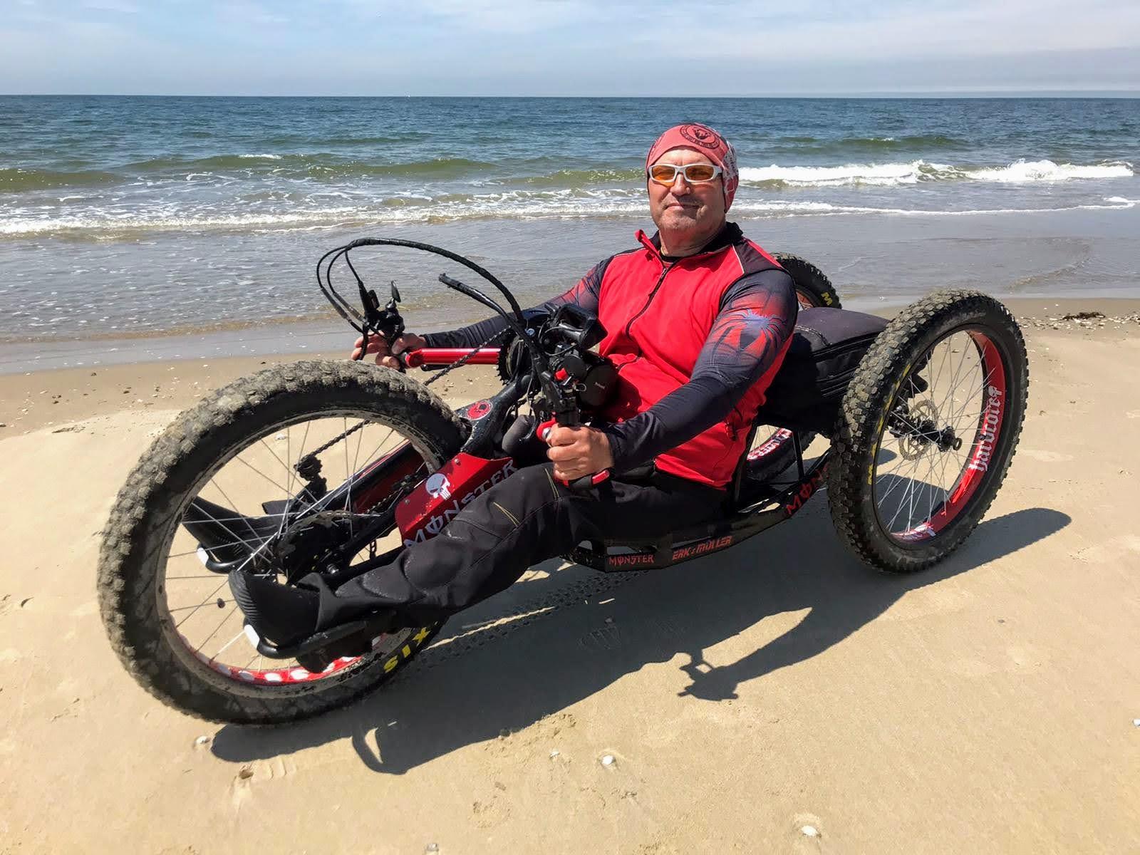 Handbiker at the Beach