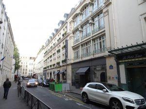 Paris street sceen with hotel Bel amie